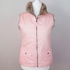 Gap Reversible Pink and Faux Fur Vest Size XS